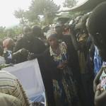 Mbunge wa Muleba Kusini Prof Anna Tibaijuka akiaga mwili wa Marehemu Faustine Muliga  diwani wa kata ya Kimwani
