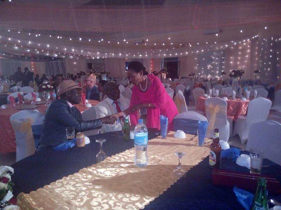 Prof Anna Tibaijuka akiwa katika sherehe ya arusi ya Naibu katibu mkuu  wizara ya sheria Mh. Amon Mpanju jijini Dar es salaam